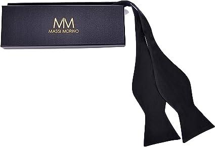 Massi Morino ® Pajarita hecha de 100% seda, pajarita cosida a mano ...