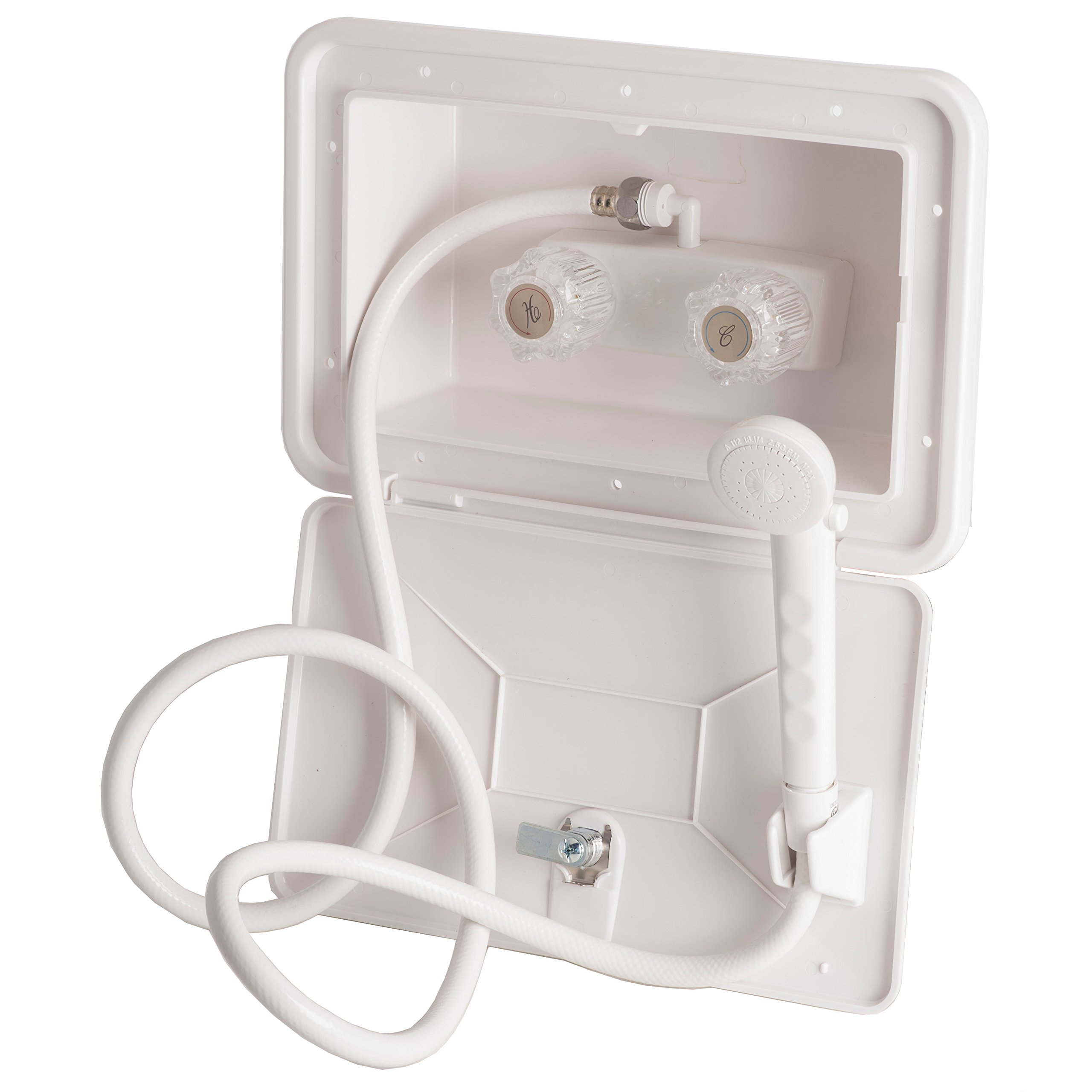 Builders Shoppe 4910WT RV Exterior Shower Box Kit with Shower Valve and Matching Hand-Held Shower Set, White Finish
