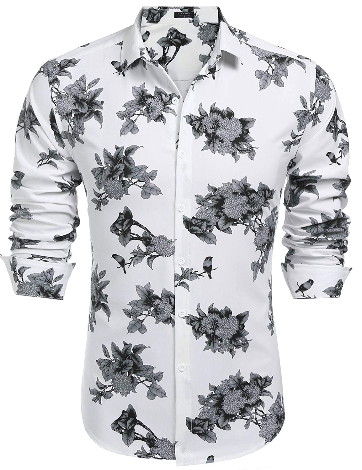 COOFANDY Men's Floral Print Slim Fit Cotton Casual Button Down Shirt EEE007059