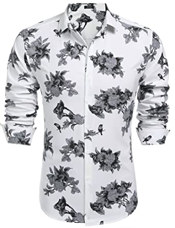 aac5ea2a35c COOFANDY Men s Floral Slim Fit Long Sleeve Casual Button Down Print Shirt