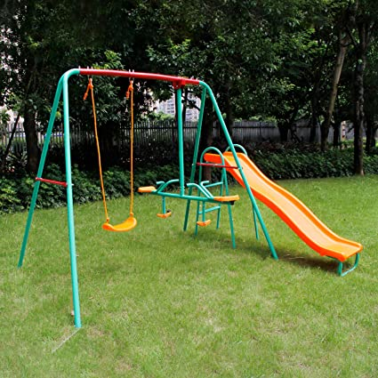 Yorbay Columpio Infantil con balancín Columpio para jardín Infantiles Exterior, 5 niños Pueden Jugar Puede cargarse hasta ca.135Kg(Columpio 3 en 1 con toboganes): Amazon.es: Juguetes y juegos