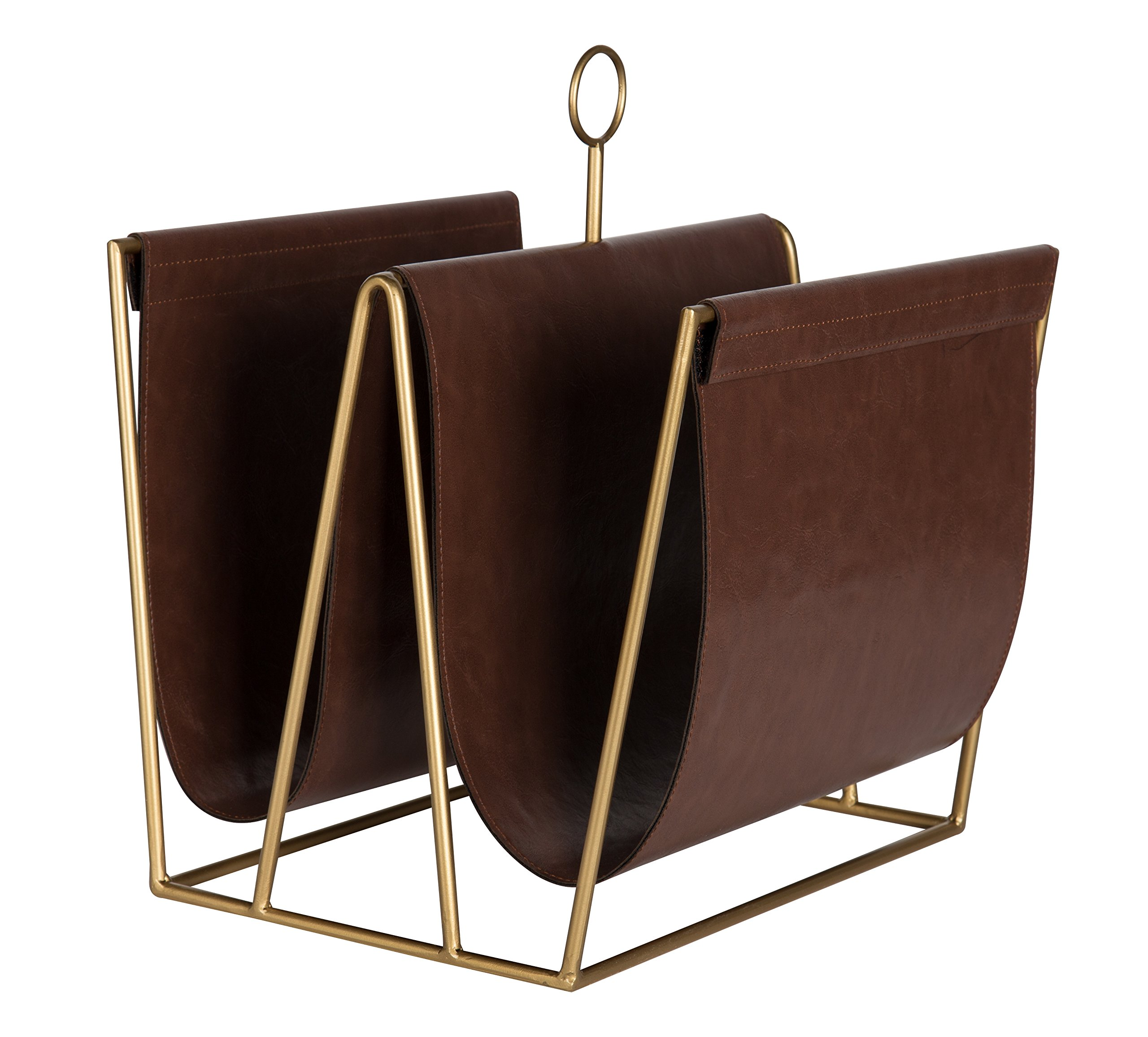 Kate and Laurel Alton Metal and Faux Leather Magazine File Holder, Brown and Gold by Kate and Laurel (Image #1)