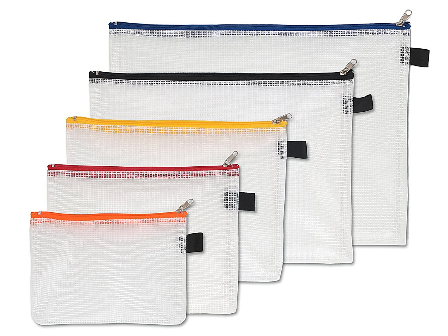 Amazon.com: NIPS 104145001 Reinforced Plastic Fabric Accessory Pouch with Zip, Set of 5: Office Products