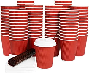 [100 Sets] Disposable Coffee Cups with Lids 12 Oz Hot Paper Coffee Cups with Lids Insulated Ripple Tea Cup Travel To Go with Stirring Straws and Napkins by Galashield