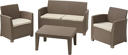 Allibert M285007 - Conjunto Ratan Resina Corona Lounge Set Capuchino: Amazon.es: Jardín