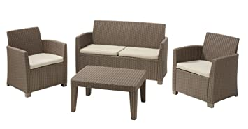 ALLIBERT 212454 Lounge Corona (2 Fauteuil, 1 canapé, 1 table en ...