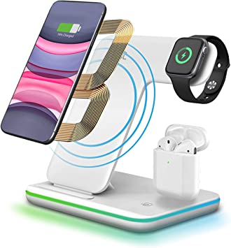 Amazon Com 3 In 1 Wireless Charger Stand Cnsl Wireless 15w Qi Fast Charging Station Watch Earphones Charger Dock With Led Light Compatible With Airpods Iwatch 1 2 3 4 Iphone 8 X Xr Samsung S10 S9 Etc White Electronics