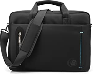 CoolBELL 15.6 inch Laptop Bag with Strap Messenger Bag Single-Shoulder Handle Bag Briefcase Nylon Cloth Waterproof Multi-Compartment for iPad Pro/MacBook/Asus/Lenovo for Men/Women/Business (Black)