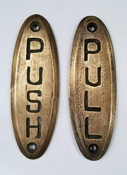 """PUSH sign and PULL sign Door sign Bell Store Art Deco Solid Brass 4/"""" #F10"""