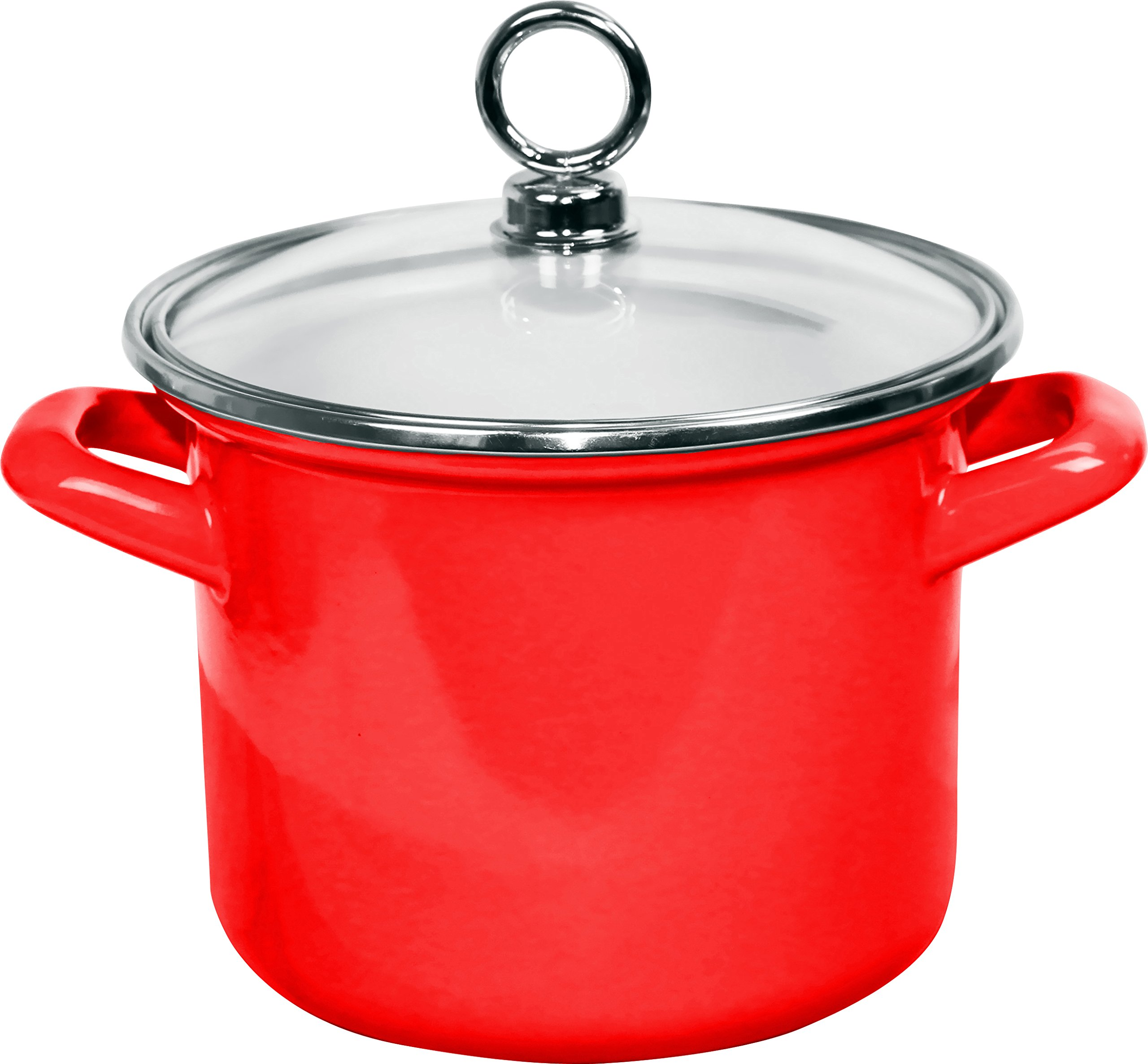 Calypso Basics by Reston Lloyd Enamel Stockpot with Glass Lid, 3.5-Quart, Red