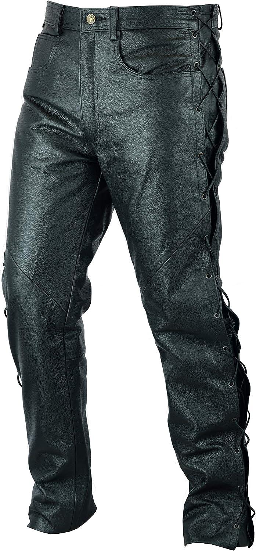 mit geschn/ürten Seiten Gr/ö/ße W32 // 81cm Texpeed schwarz Herren Motorradhose im Stile einer Lederhose