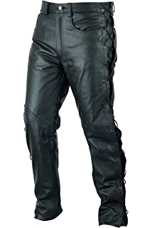 b1294e862ab1 Quality Mens Black Leather Motorcycle/Motorbike Biker Jeans With Laced Sides  - All Sizes