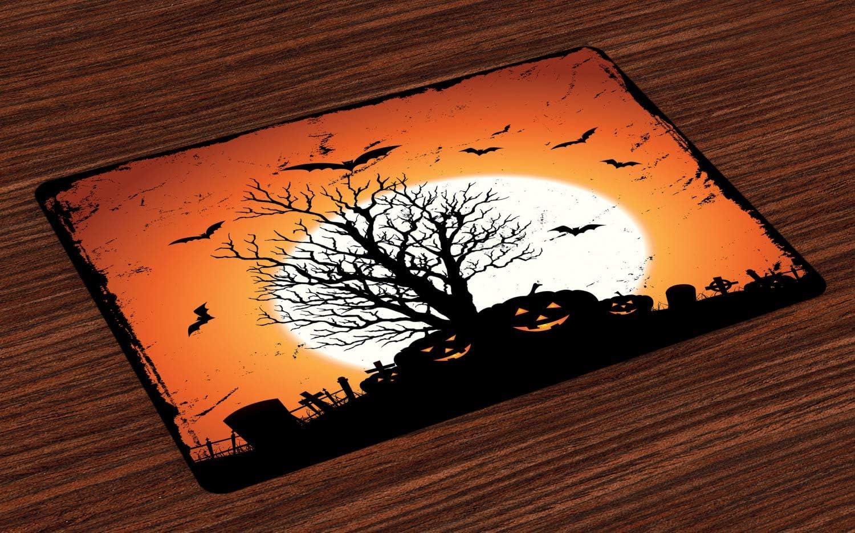 Tessuto Lavabile e solidita del Colore per la Sala dicena e Cucina Arancione Nero Bats Pumpkins ABAKUHAUS Vintage Halloween Tovaglietta Americana