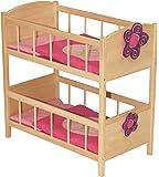 roba 97231 Happy Fee - Litera de madera para muñecas (incluye almohadas y mantas, 57 x 57 x 31 cm)