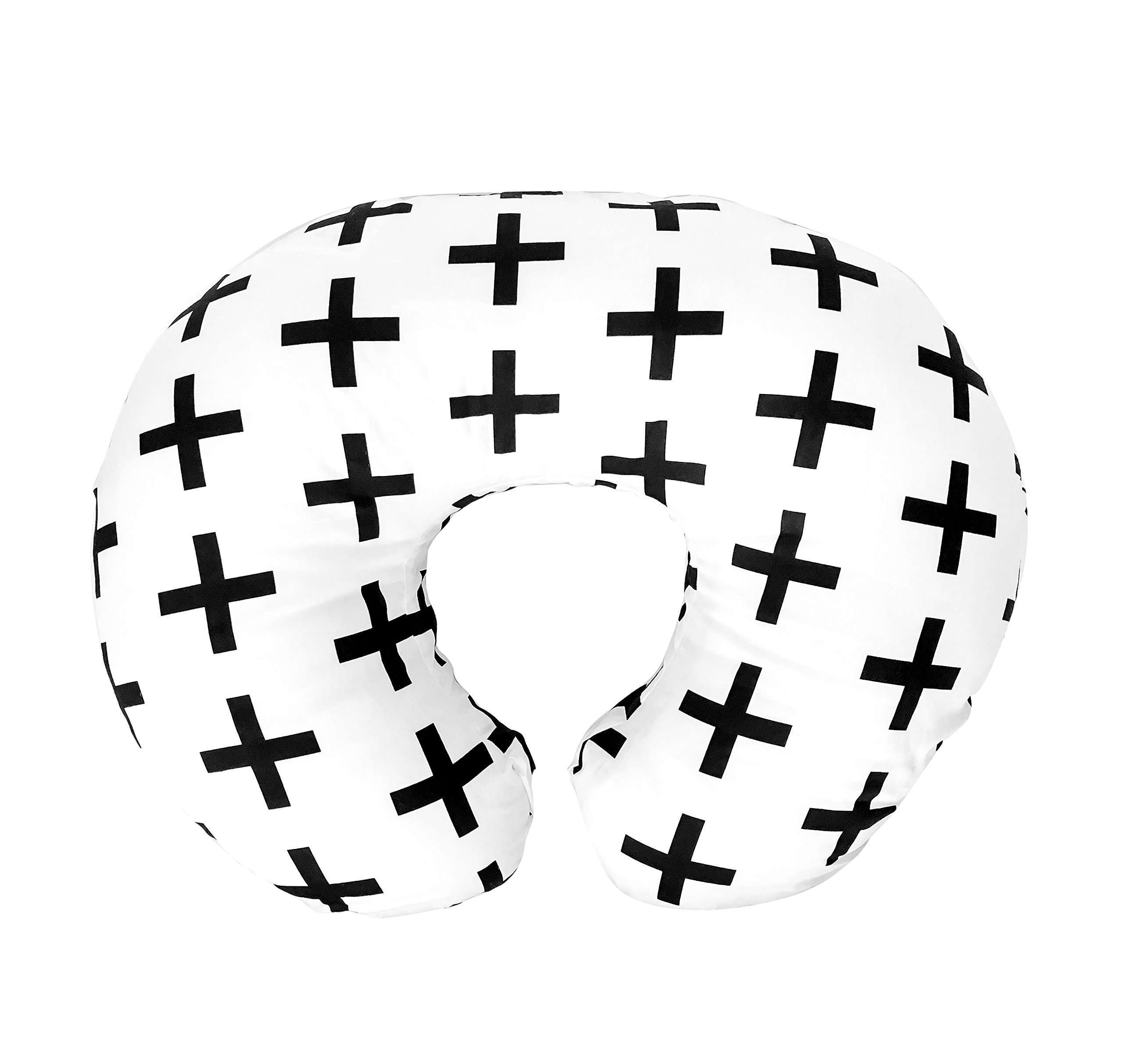 Premium Quality Nursing Pillow Cover by Mila Millie - Nordic Swiss Black Cross Unisex Design Slipcover - 100% Cotton Hypoallergenic - Perfect for Breastfeeding Mothers - Baby Shower Gift by Mila Millie