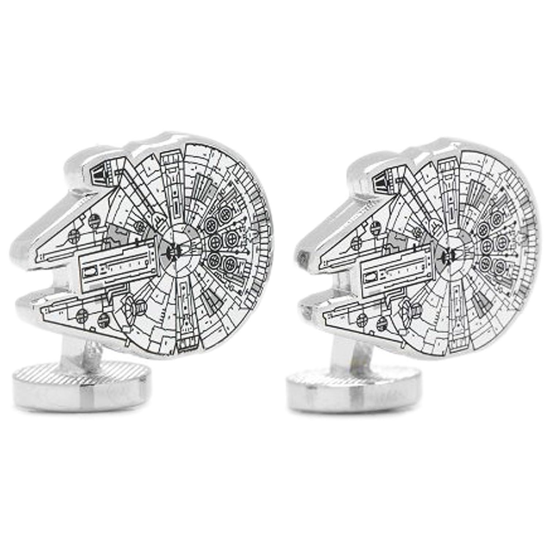 Image of Cufflinks Star Wars Millenium Falcon Blue Print Cuff Links