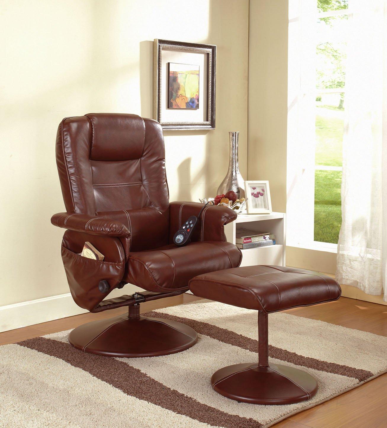 Amazon.com: Reclining Massage Chair With Ottoman Color: Dark Brown: Kitchen  U0026 Dining