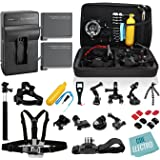 GHC© Complete Kit for GoPro Hero4 Black or silver: 2 Batteries, Charger + 30pcs accessories Kit. Outdoors Bundle for Hero 4: 2 batteries +Charger +Head & Chest Straps +Grip +Tripod +Suction Cup &More