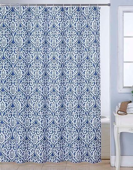 BIANCA Waterproof Printed Shower Curtain (12pc Plastic Hooks Included)