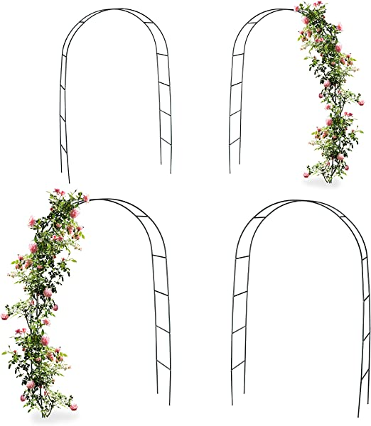 Relaxdays 4 x Arco, pérgola trepadoras, Rosas, Rose Tor Metal, Resistente a la Intemperie, HBT: 240 x 140 x 38 cm, Color Verde Oscuro: Amazon.es: Jardín