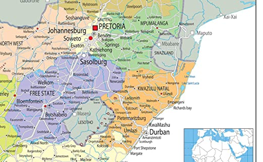 South Africa Political Map Paper Laminated A1 Size 594 x 841 cm