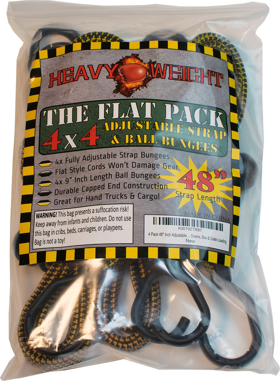 HeavyWeight Flat Bungee Cords 4 PACK with BONUS 4 Ball Bungees | 48'' INCH Total Length with Adjustable Length Hooks | Hand Carts, Dolly, Cargo, Moving, Camping, RV, Trunk, Luggage Rack, Tarp Tie Down by Heavy Weight (Image #7)
