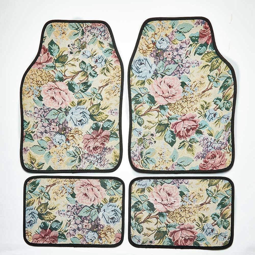 Coopers of Stortford 4 Pack Floral Tapestry Car Mats 2x Front 2x Back Set Universal Fit