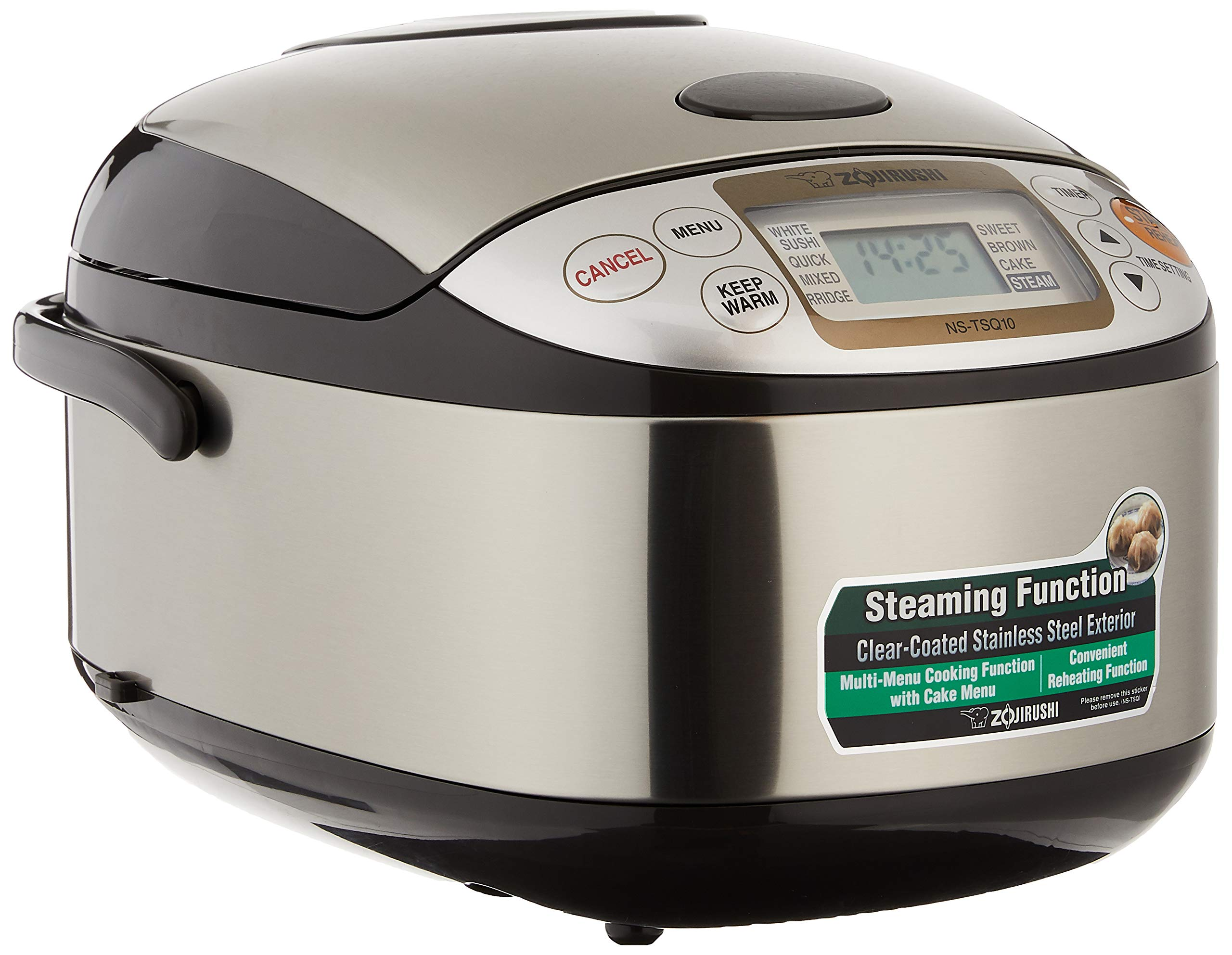 ZOJIRUSHI Rice Cooker NS-TSQ10 Stainless Steel Brown, 220-230V (Stainless Steel Brown)