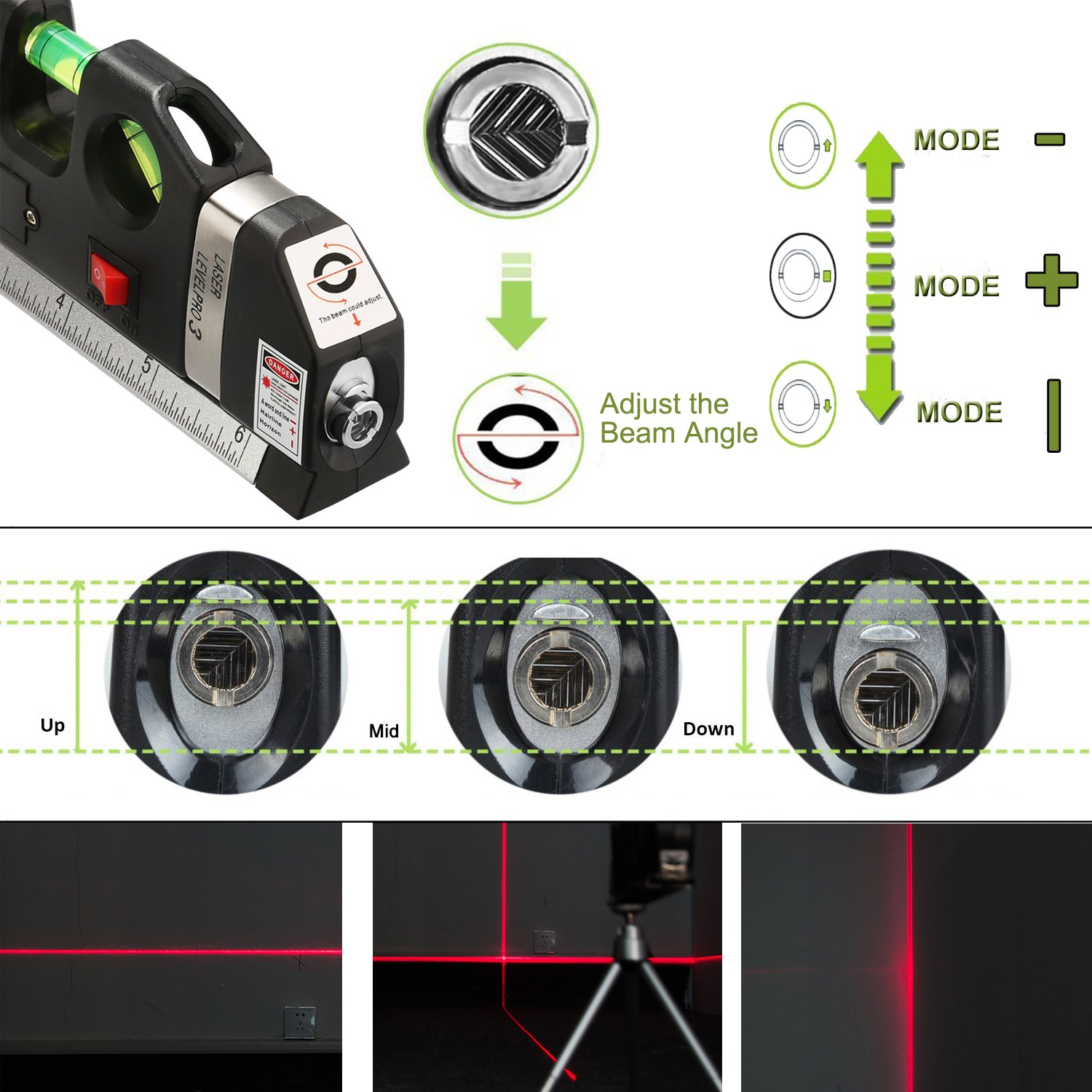 Y-Axis Multi-purpose Laser Level Measurement with Black Tripod Stand, 8ft Tape Measurement 3.5mV by Y-Axis (Image #3)