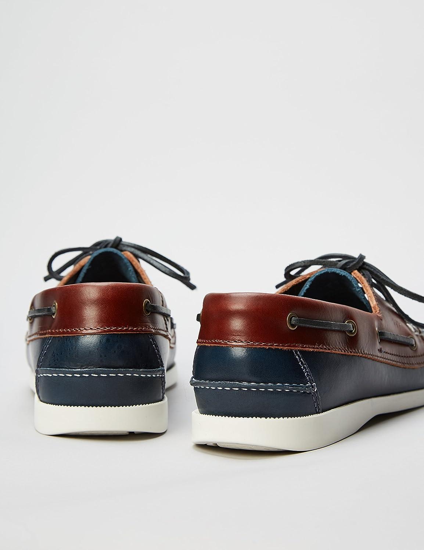 Marque Amazon - find. Boat Shoe, Chaussures bateau homme Bleu Navy Tan