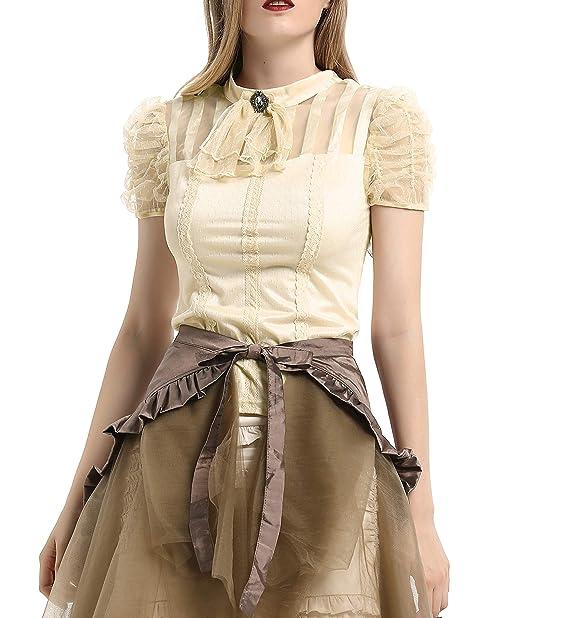 Amazon.com: Camisa de encaje gótico para mujer, manga corta ...