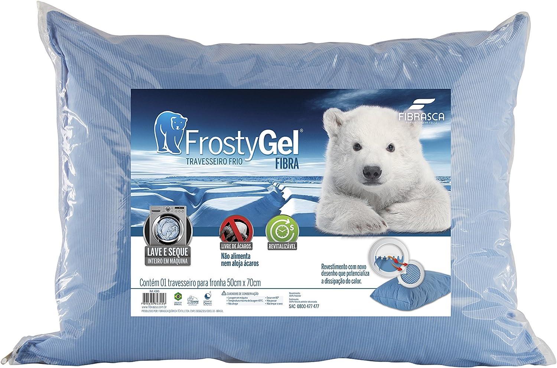 Travesseiro Frostygel, Fibra Enchimento, 50x70 cm, Azul, Fibrasca por Fibrasca