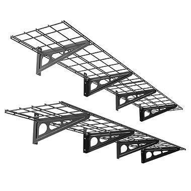 FLEXIMOUNTS 1' x 6' Black 2-Pack 1x6ft 12-inch-by-72-inch Wall Shelf Garage Storage Rack, 1x6 ft,