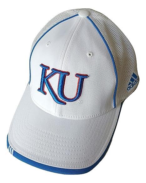 b3609b77f adidas - Kansas Jayhawks White Stretch Fitted Flex Mesh Back Hat Cap ...