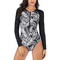 Runtlly Women Rash Guard Long Sleeve Swimsuits UV UPF 50+ Sun Protection Zipper Surfing Floral Printed One Piece…
