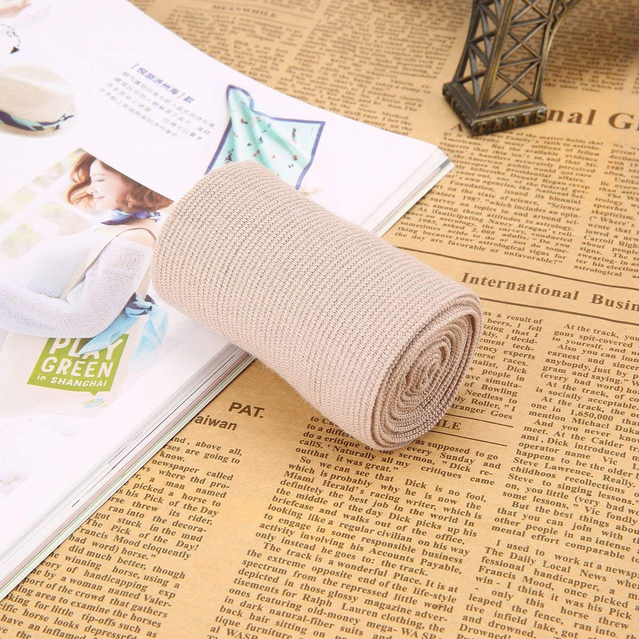 3 Elastic Bandage Wrap with 2 Clasps Self Adhesive Sport Medical Compression Bandage Roll for Muscles Wrist Knee Ankle Elbow
