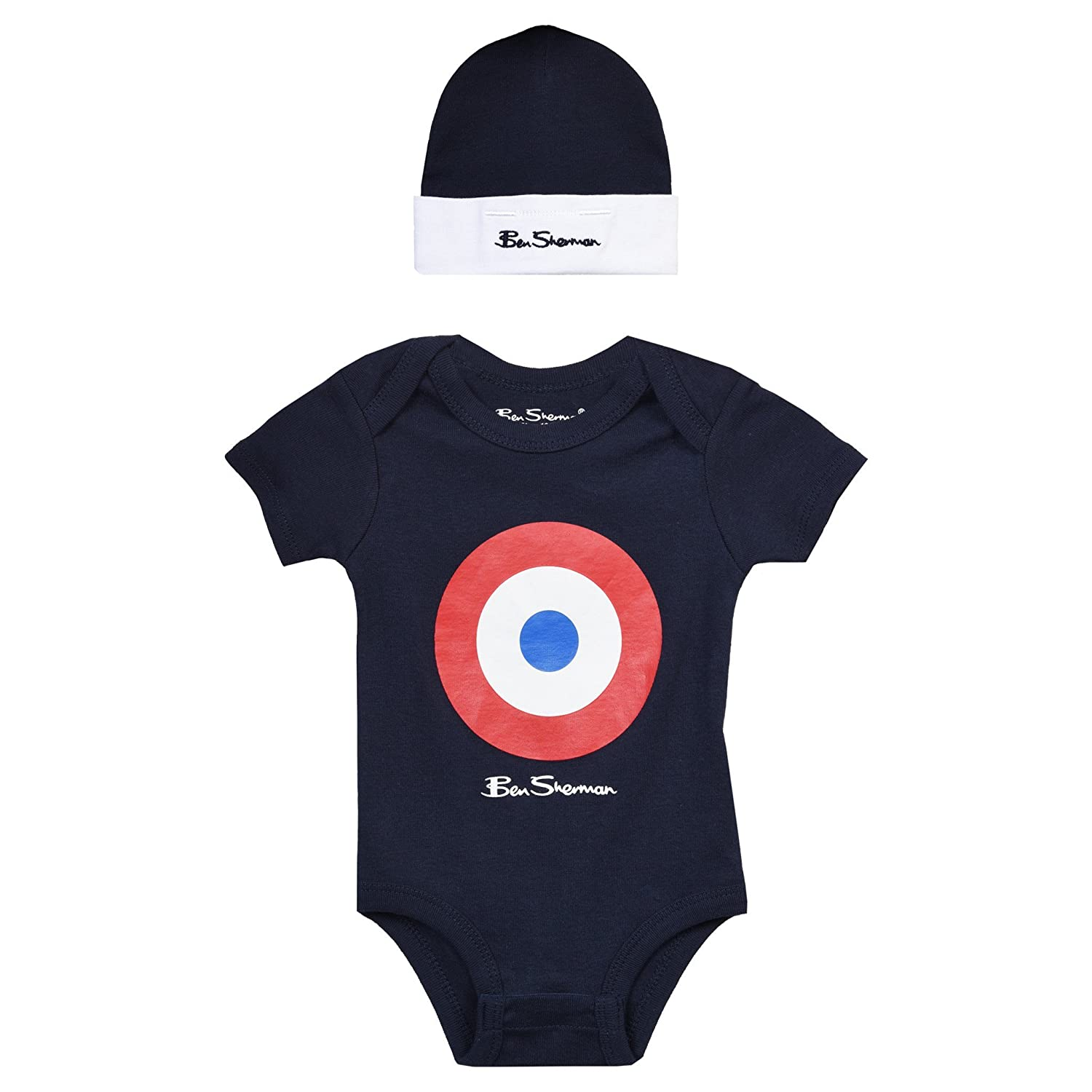Ben Sherman Baby Hat and Vest Set (0-3M, Navy) … Navy) ...