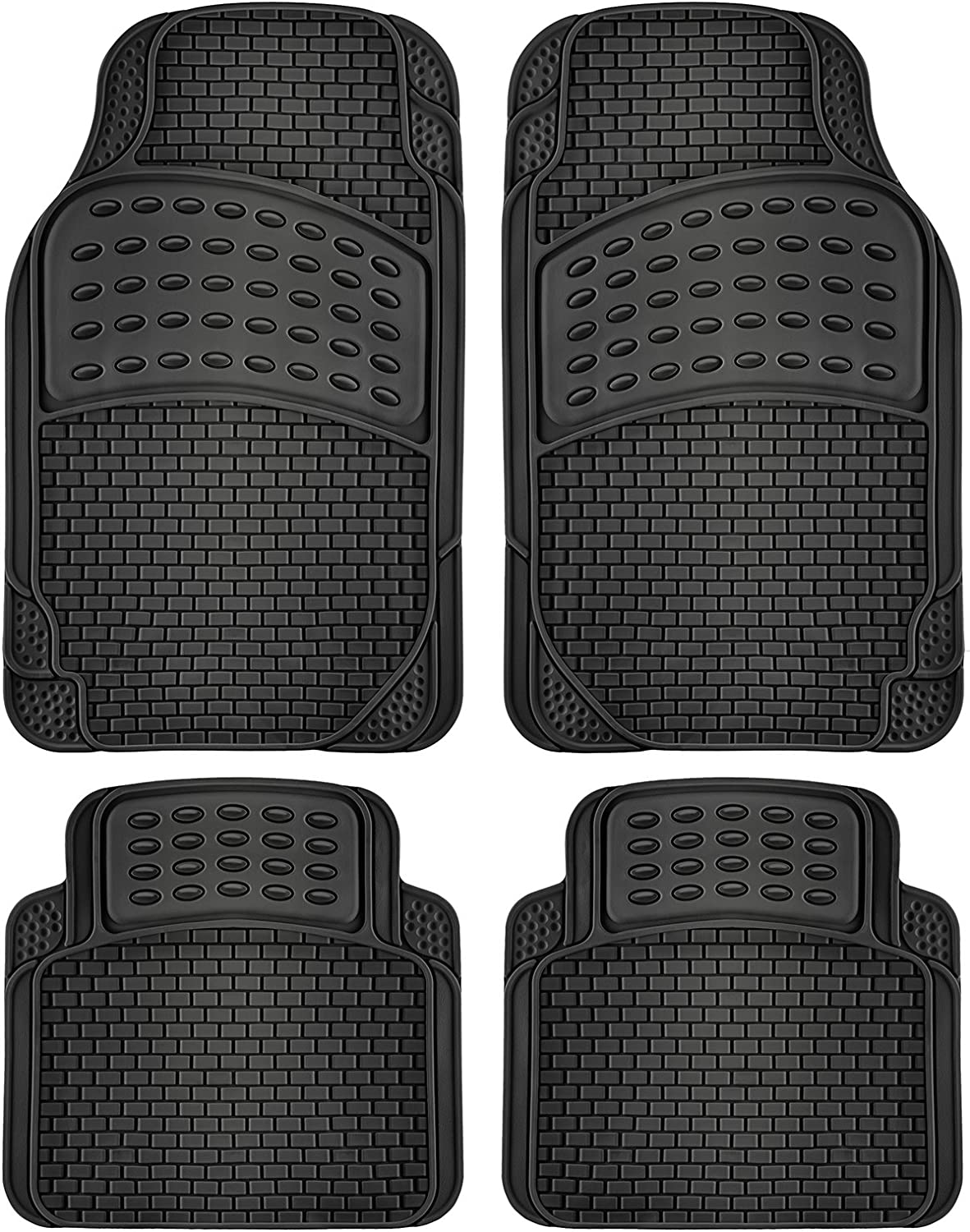 OxGord 4pc Rubber Floor Mats Universal Fit Front Driver Passenger Seat for Car SUV Van and Truck - Brick Style - Black