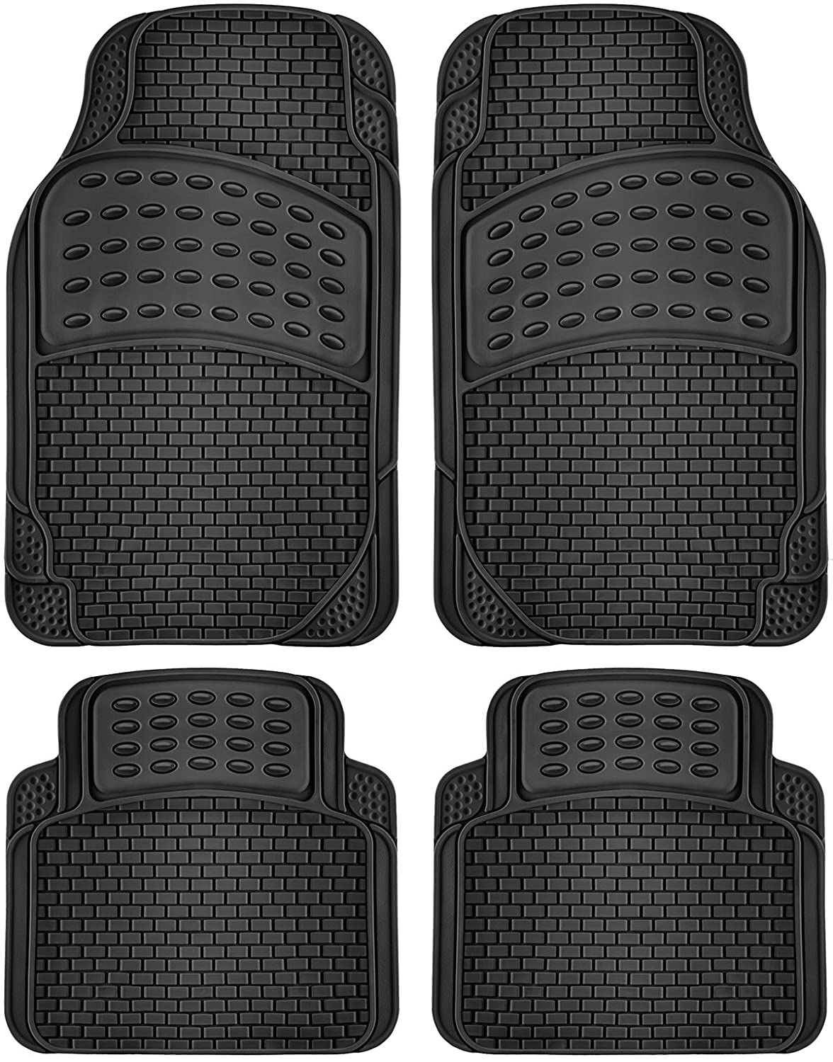 Rubber floor mats cheap - Oxgord Fmpv01a Bk Front Rear Driver Passenger Seat Ridged Heavy Duty Rubber Floor Mats For Cars Suvs Vans Trucks Black