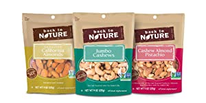 Back to Nature Non GMO Nuts & Trail Mix, Variety Pack, 3 Count