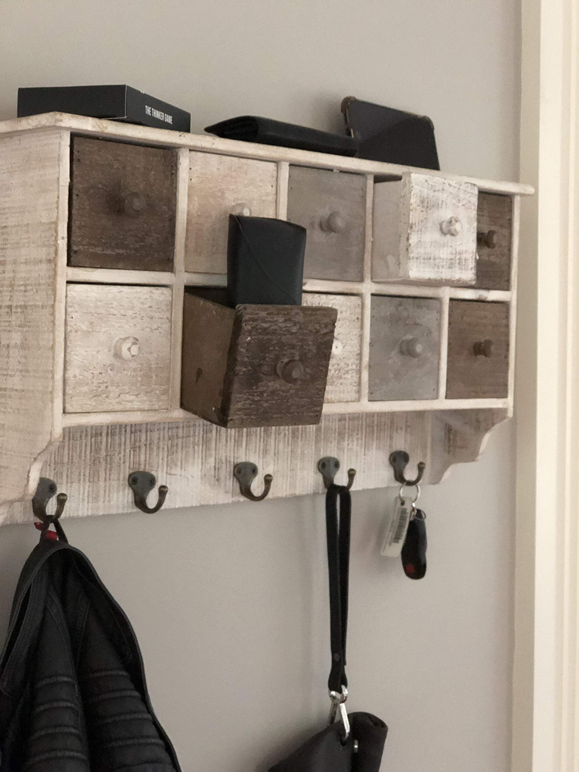 """Avignon Home Country Rustic White Brown Wood Wall Organizer Shelf Rack/Wall Cabinet w/Drawers & Metal Hooks Key Hook - DIMENSIONS: 22.5"""" wide, 13"""" high, 5"""" deep. 10 sliding cube drawers each measuring 3.5""""x3.5"""" 6 key hooks which can also be used to hang coats or jackets or hats as an entryway organizer - wall-shelves, living-room-furniture, living-room - 81ej5vV8T7L -"""