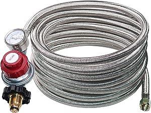 DOZYANT 12 Foot 0-30 PSI High Pressure Adjustable Propane Regulator with Gauge/Indicator, Stainless Steel Braided Hose, Gas Grill LP Regulator for Burner, Turkey Fryer, Forge, Smoker and More