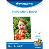 "Printworks Matte Photo Paper for Inkjet Printers, Printable on Both Sides, 8 mil, 30 Sheets, 8.5"" x 11"" (00548)"