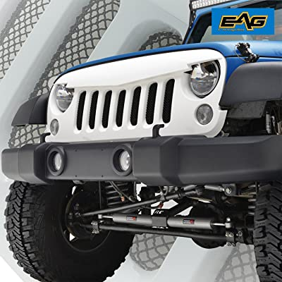 E-Autogrilles White Angry Bird Replacement Grille Grid Grill With Stainless Steel Wire Mesh Insert for Jeep Wrangler Rubicon Sahara Sport JK 2007-2017 (44-0840W)
