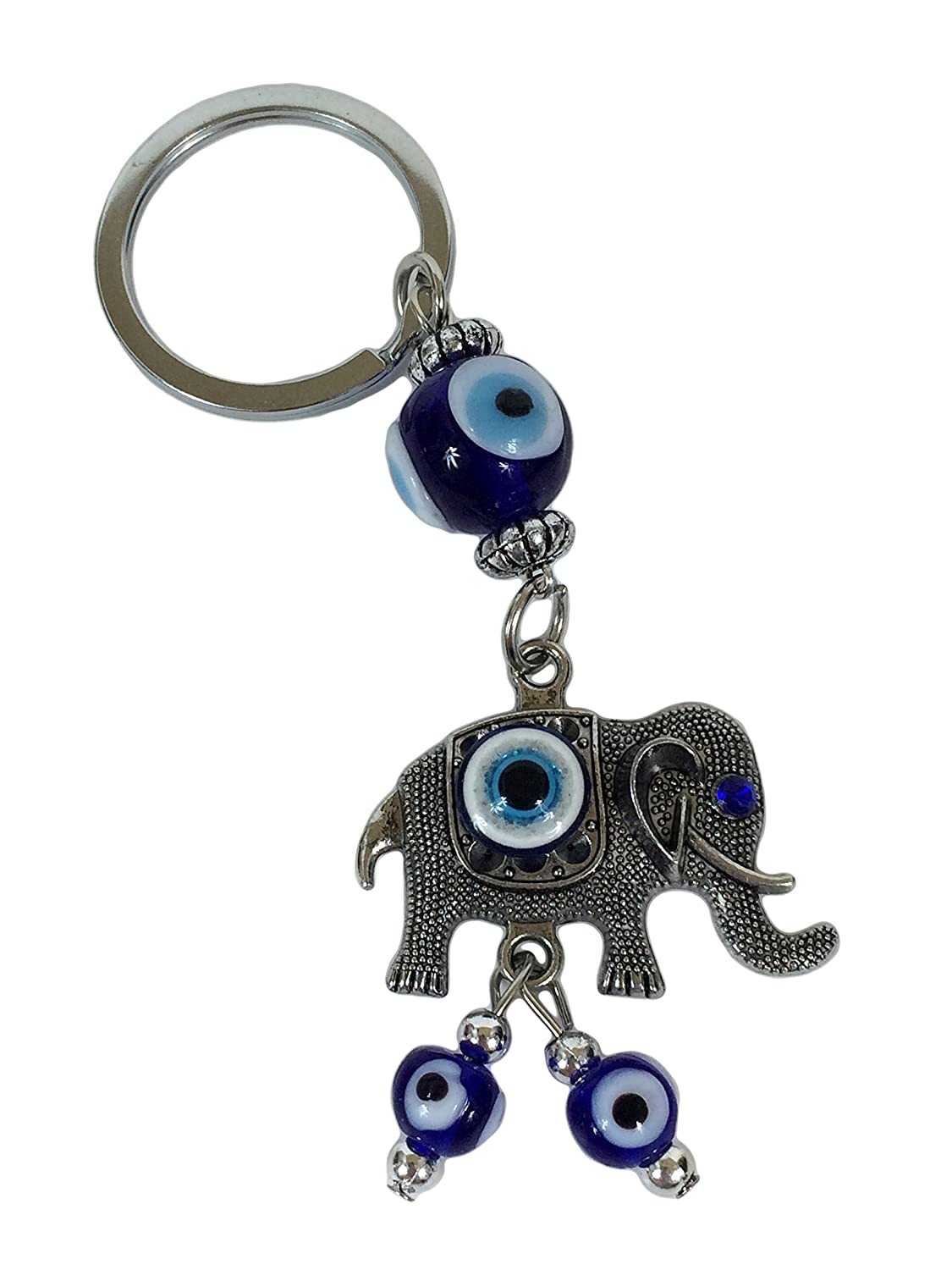 Amazon.com: Blue Evil Eye Lucky Elefante Llavero/Llavero con ...