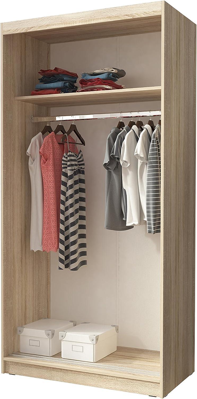 Sonoma, 100 cm Kleiderschrank mit Spiegel Schrank Gaderobe Schiebt/üren Mono