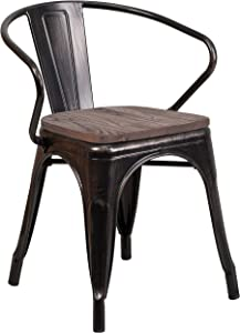 Flash Furniture Black-Antique Gold Metal Chair with Wood Seat and Arms