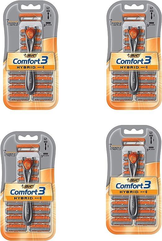 BIC Comfort 3 - Maquinilla de afeitar híbrida para hombre, 1 asa ...