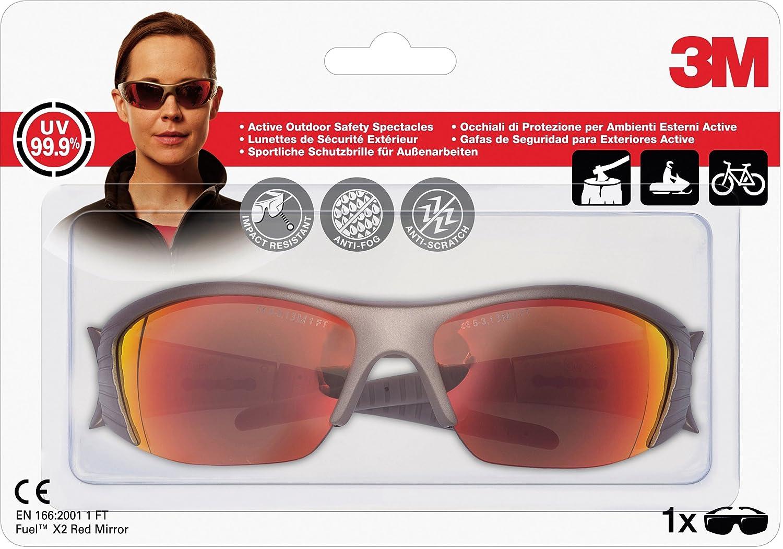 3M Occhiali di Protezione, Lenti a Specchio Rosso X2 Series