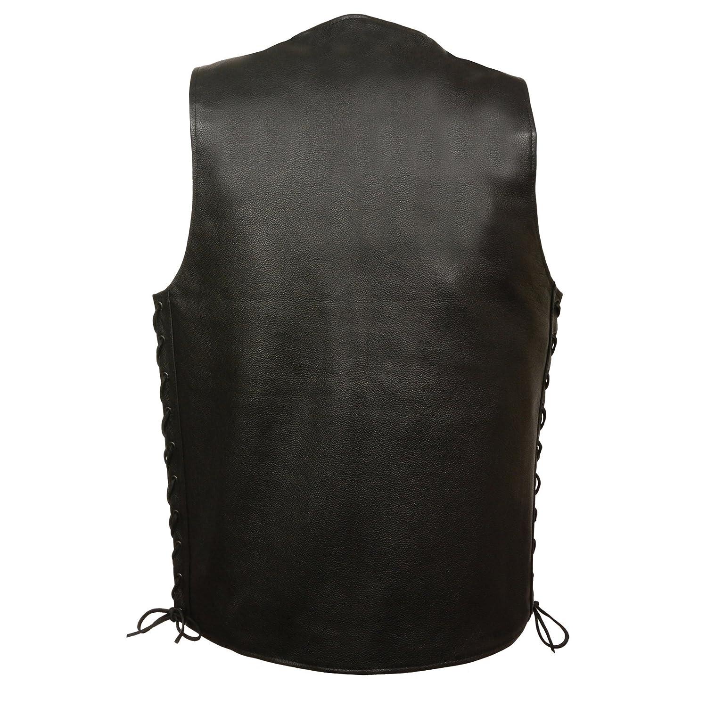 ZOOM LEATHER-Mens Straight Bottom Side Lace Vest-BLACK-SM